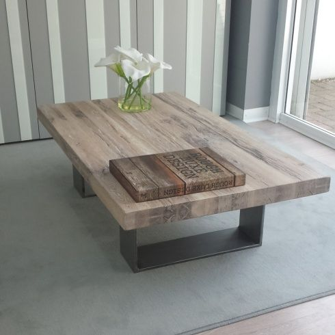 Modena Solid Wood Metal Coffee Table