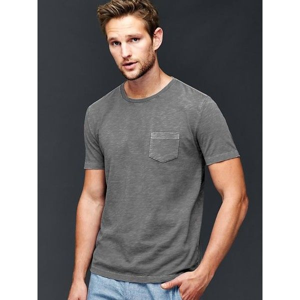 Gap Men Garment Dyed Slub T Shirt ($17) ❤ liked on Polyvore featuring men's fashion, men's clothing, men's shirts, men's t-shirts, blue slate, tall, mens blue t shirt, j crew mens shirts, mens tall shirts and mens blue shirt