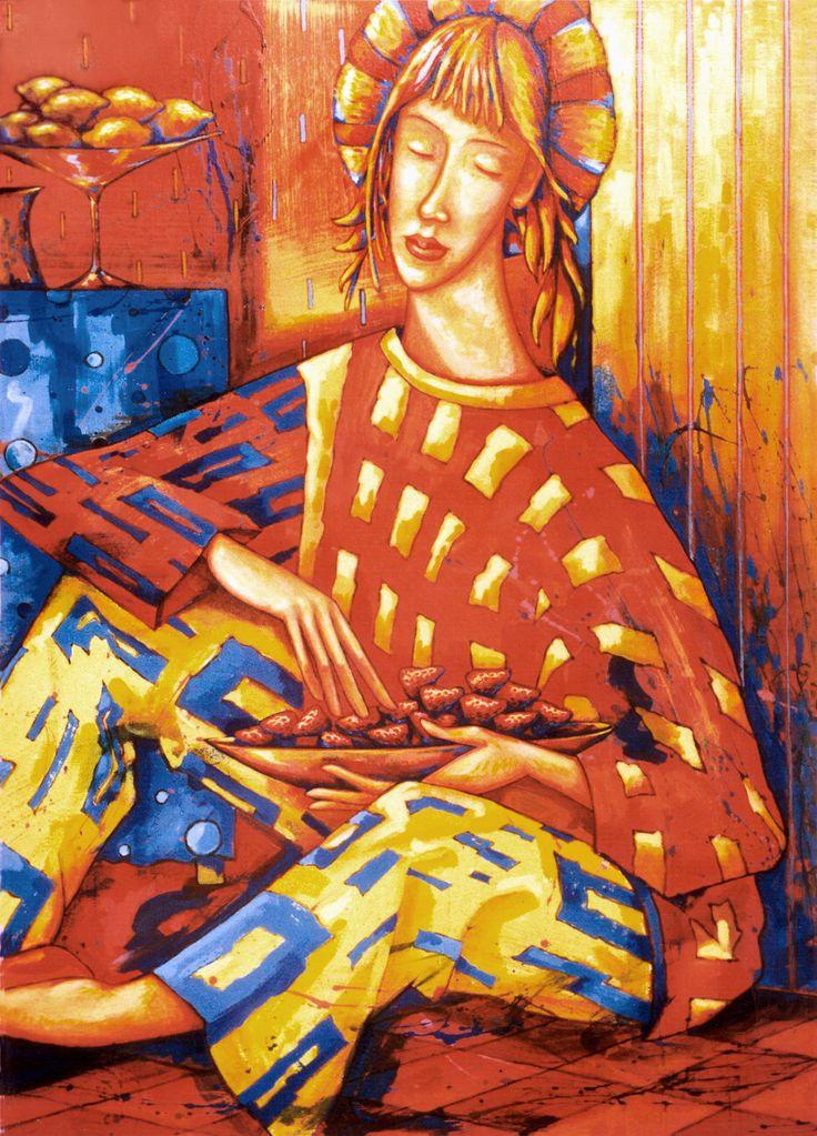 """Ягодный сезон"". 2004. Оргалит. Акрил. 80х60см.  ""Berries Season"". 2004. Acrylic on hardboard. 80x60cm.   #Artists #Artwork #art #живопись #painting #искусство #semenyuk #семенюк #artsemenyuk #semenyukart #joyfulred #summer #dream #red #happyred  #chilli #summer #peppers #red #happyred #acrylicpainting  #strawberry #lemon #coffee #красный #лето #клубника #кофе #лимон"