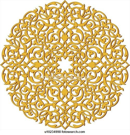 Round Intertwined Gold Arabesque Design