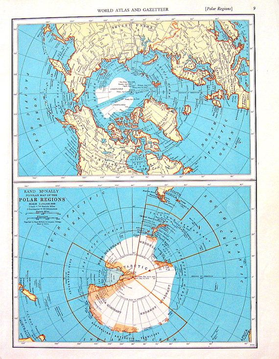 Polar Regions 1936 Vintage Map From World Atlas 11 X 14 Products