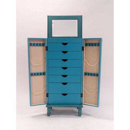 Vintage Turquoise Hand Painted Jewelry Armoire, Antique Drawer Pulls
