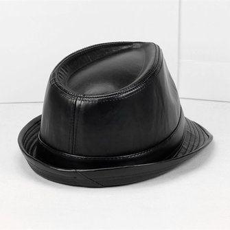 Mens Women Vintage Leather Bowler Jazz Cap Black Casual Short Brim Gentleman Hats