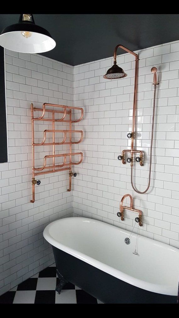 Copper pipe Shower and flexible hose | Etsy