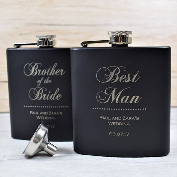 Classy Engraved Best Man Usher Father's Hip Flask