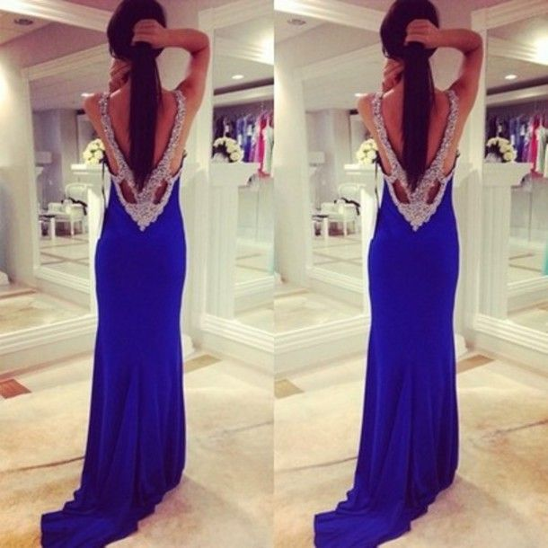 DIYouth.com Deep V Neck Ruffles Open Back Silvery Sequins Beaded Backless Long Prom Dress,blue prom dresses,blue evening dress,sexy prom dress,prom dresses 2015,beading evening dresses, Sexy Cocktail Dresses,Party Dresses, Celebrity Dresses cute gown