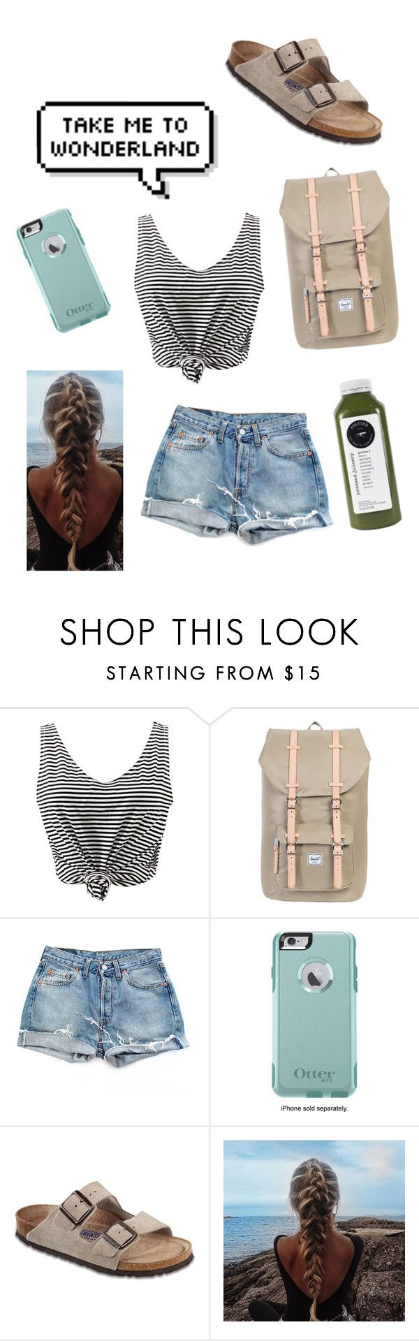 """""""Beach Days🐚"""" by kylieirwin11 ❤ liked on Polyvore featuring WithChic, Herschel Supply Co., Levi's, OtterBox and Birkenstock"""