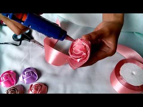 Diy ribbon roses, how to make satin ribbon roses,kanzashi roses tutorial - YouTube