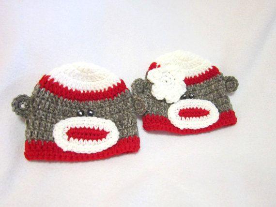 Sock Monkey Baby Hat Crochet Red and White by crochetedbycharlene