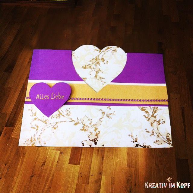 DIY Hochzeitskarte - das ist ein Umschlag und Karte in einem. Wenn man am Herz zieht, öffnet sich die Karte :)