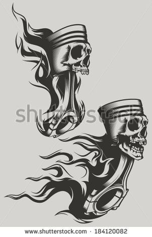 Flaming pistons - stock vector