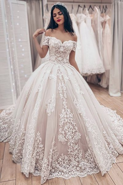 Dazzling Tulle Off-the-shoulder Neckline Ball Robe Marriage ceremony Attire With Lace Appliques,LV1237 from LaviDress