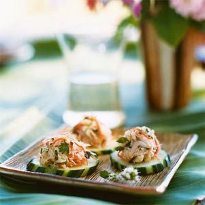 Crab Salad on Cucumber Rounds | MyRecipes.com