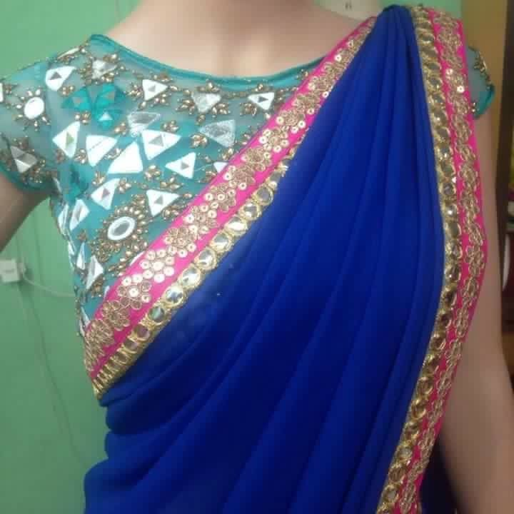 Combination Of Mirror And Sequence Blouse.. Get it Done at mytailor.in