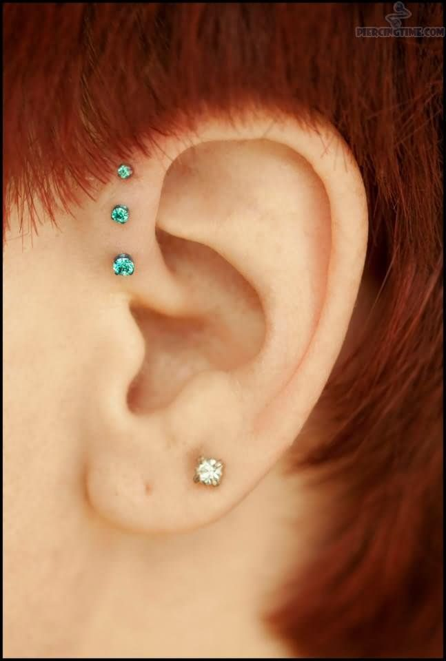 Girl Left Ear Inner Helix Piercing for Girls