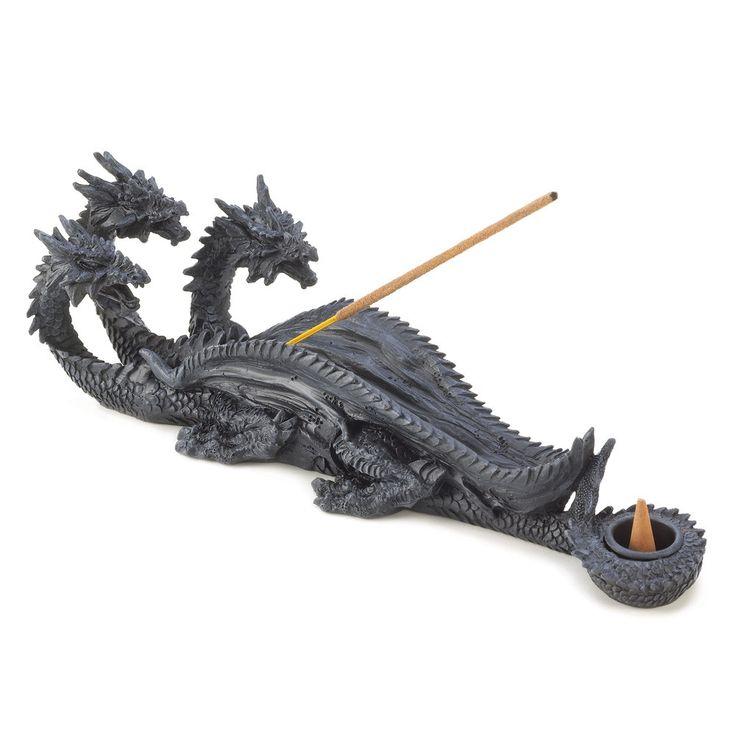 Gothic Triple Dragon Incense Burner Figurine
