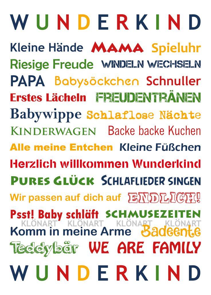 KLÖNART - Kartenkunst und mehr Postkarte  Buchstaben + Worte WUNDERKIND www.kloenart.de kontakt@kloenart.de www.facebook.com/kloenar