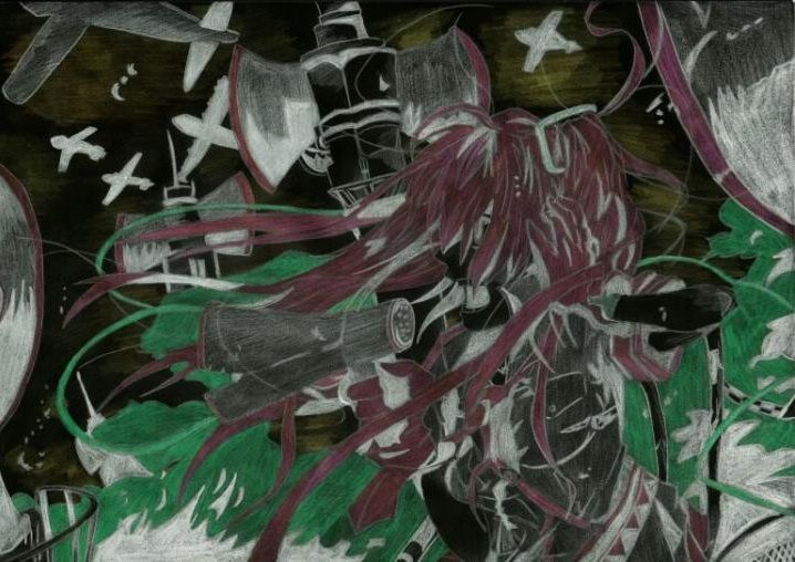The drawing of #Hatsune miku, love is war in special effect colours  #vocaloid