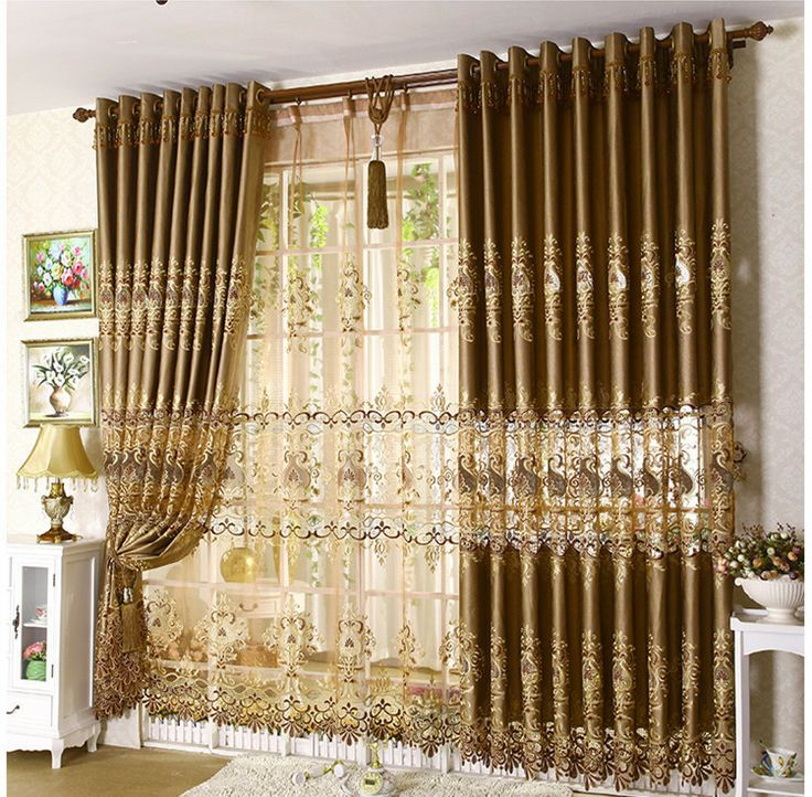Home Decor Continental Soluble Embroidery Window Curtain Upscale Luxury Living Room Curtains Bedroom For