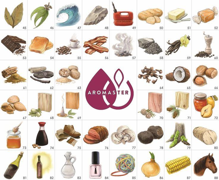Kit Aromi del Vino - 88 aromi: 45.foglia di alloro, 46.eucalipto, 47.iodio, 48.pietra focaia, 49.cherosene, 50.pane, 51.burro, 52.caramello, 53.cioccolato, 54.tostato, 55.caffè, 56.bacon, 57.fumo, 58.catrame, 59.vaniglia, 60.pepe, 61.cannella, 62.liquirizia, 63.noce moscata, 64.chiodi di garofano, 65.noce di cocco, 66.nocciola, 67.mandorla, 68.quercia, 69.sandalo, 70.cedro, 71.pino, 72.cotognata, 73.miele, 74.salsa di soia, 75.cuoio, 76.sugo di carne, 77.fungo, 78.tartufo, 79.albero di…