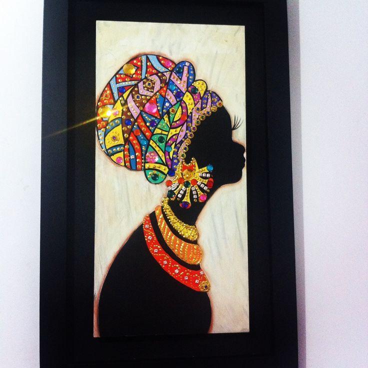 Cuadro Reina Africana decorada con piedras