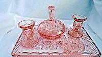 Pink Glass Vanity Set Dressing Table Set