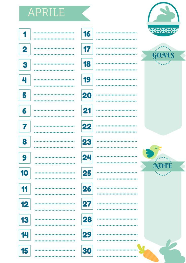 Nata disorganizzata: Refill gratuiti per l'agenda: il mese di Aprile da stampare