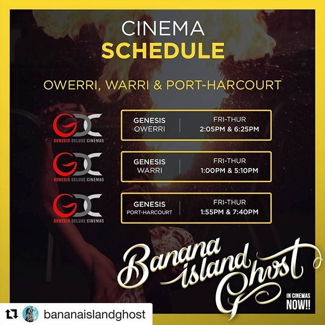 """""""from @bananaislandghost ・・・ Hello wonderful people, it's a long weekend! One of the best ways to show love to your friends, is to take them to watch #bananaislandghost  SWIPE LEFT to view cinema schedule for Genesis Cinemas. #BananaIslandGhost is showing in all cinemas nationwide ------------------------------------------------------------------------ #bananaislandghost #sumtinbig  #Incinemasaug4th  #BTS #Nollywood #Comingsoon #advertising #digitalmarketing #Comedy #Actionfilm…"""