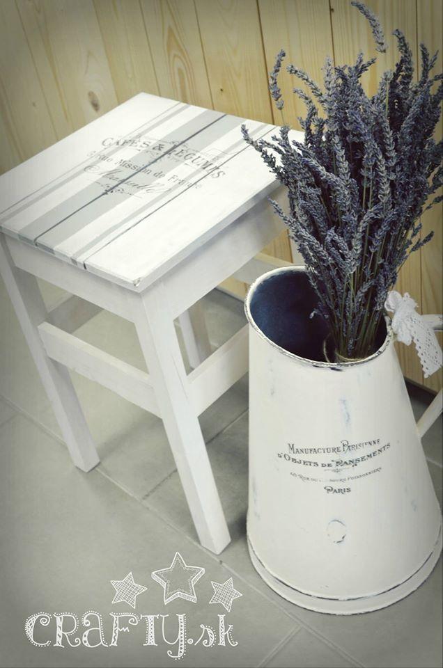DIY idea Shabby Chic chalky panit transfering lavande