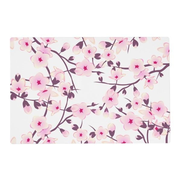 Floral Cherry Blossoms Pink White Placemat Zazzle Com Cherry Blossom Cherry Blossom Theme Place Card Holders