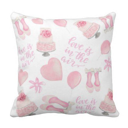 Love Is In The Air Blush Pink Wedding Shoes Cake Throw Pillow - diy cyo personalize design idea new special
