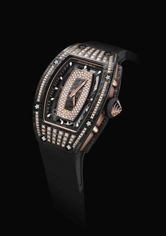 The Richard Mille Automatic RM 07-01 NTPT ladies watch features a gem-set NTPT carbon case.  More @ http://www.watchtime.com/wristwatch-industry-news/watches/richard-mille-rm-07-01-and-rm-037-ladies-watches-with-gem-set-ntpt-carbon/ #richardmille #watchtime #ladieswatches
