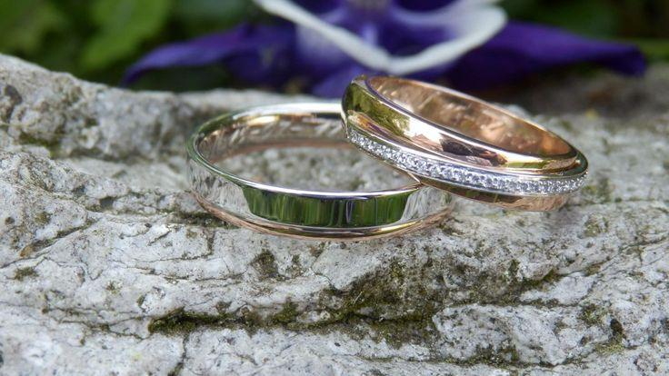 Bicolor trouwringen met diamanten uit collectie Twist