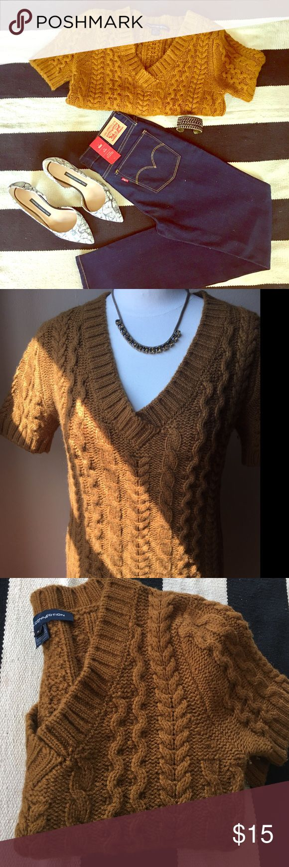 French Connection Short Sleeves Sweater Short Sleeves, Size Medium,  wool/acrylic. I wore it once!     All items shown in cover photo are for sale! Check out my closet. 🤳🏻 French Connection Sweaters V-Necks