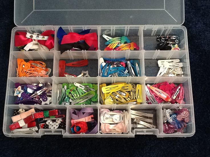 Hair Clip Organizer - I used a Plano tackle box to create custom sized divided areas to organize all my daughter's hair clips. This saves time in the mornings when I am trying to find a clip to match her outfit.