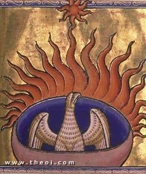 Phoenix, Aberdeen Bestiary manuscript c. 1200, Aberdeen University Library