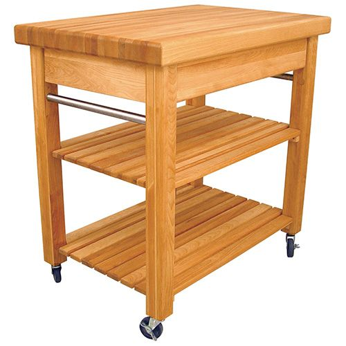 A classic design to complement any kitchen, The Compact French Country Work Centre features include a 2½-inch thick butcher block top, heavy duty three-inch wheels (2 locking), a large capacity drawer with full extension drawer glides and slatted shelves. Stainless steel towel bars on both sides offer a convenient location for readily accessible towels. Two caster wheels lock for stationary use.   All Catskill kitchen trolleys and islands are delivered free to the UK mainland (Excludes…