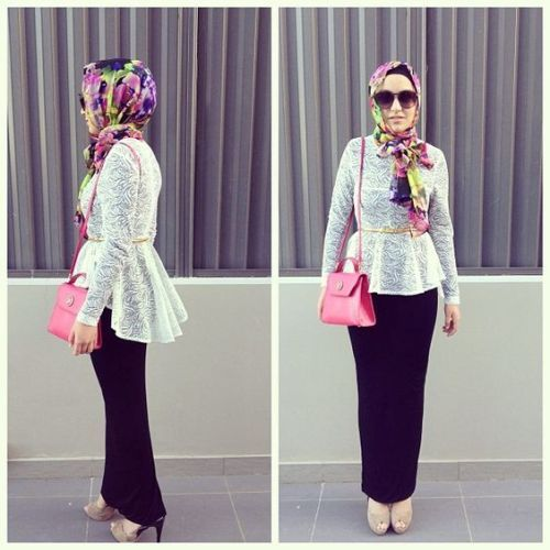peplum blouse hijab fashion- How to get hijab trendy looks http://www.justtrendygirls.com/how-to-get-hijab-trendy-looks/