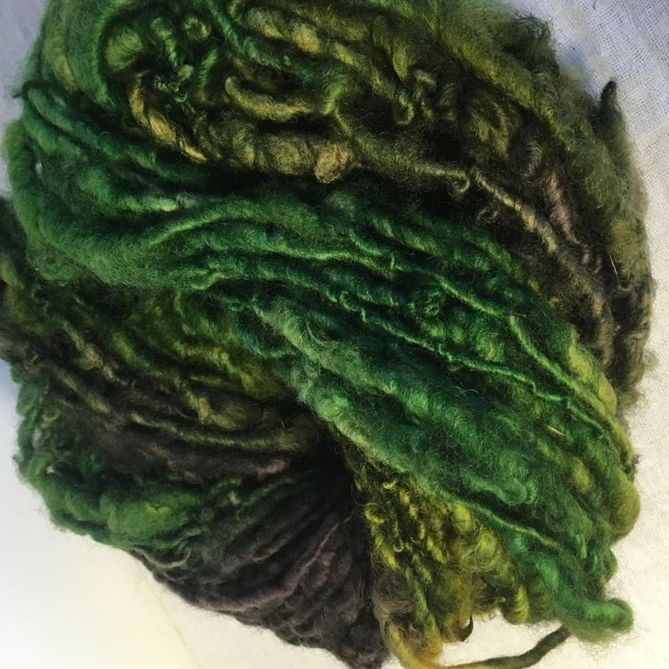 Green and Brown English Leicester  Handspun Chunky Yarn by hawthornecottage on Etsy