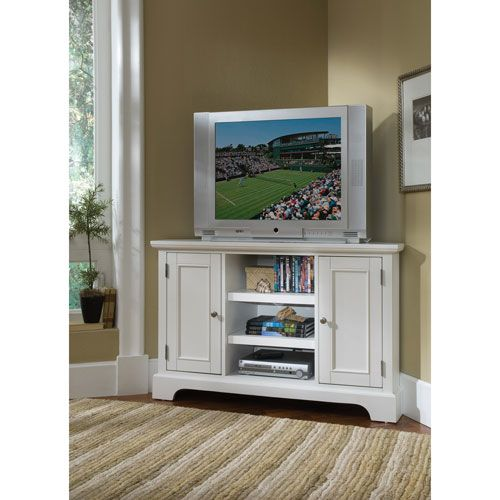 Naples White Corner TV Stand Part 58