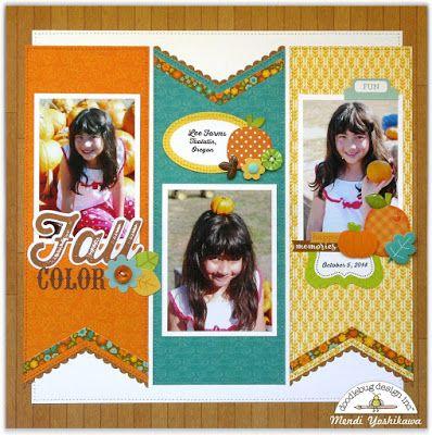 Doodlebug Design Flea Market Fall Pumpkin Patch Scrapbook Layout by Mendi…