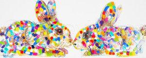 Rabbit Kiss Tracey keller Rabbit painting