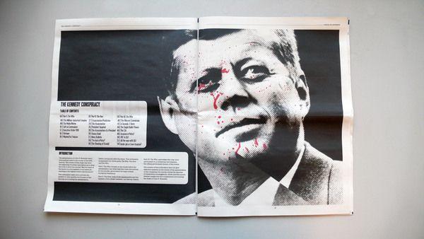 The Kennedy Conspiracy Newspaper by Matthew King, via Behance