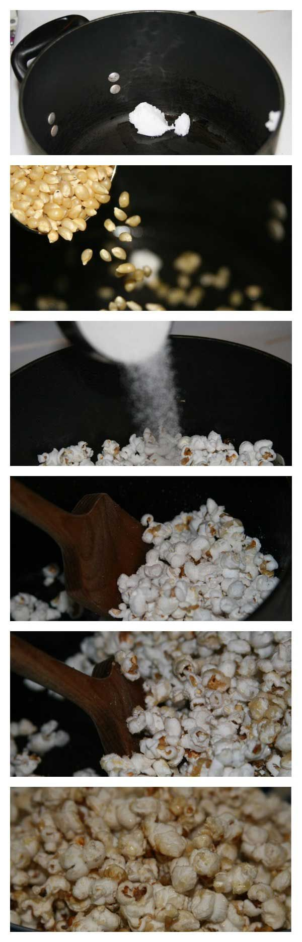 Tutorial on how to make homemade kettle corn, a very inexpensive snack for a crowd, adults or kids, illustrated with step-by-step photos. Easy frugal recipe.