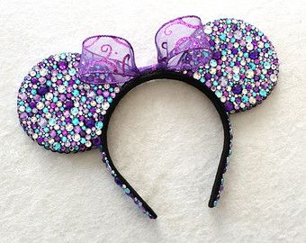 Purple, Turquoise & Clear Rhinestone Minnie Mouse Ears - MADE TO ORDER