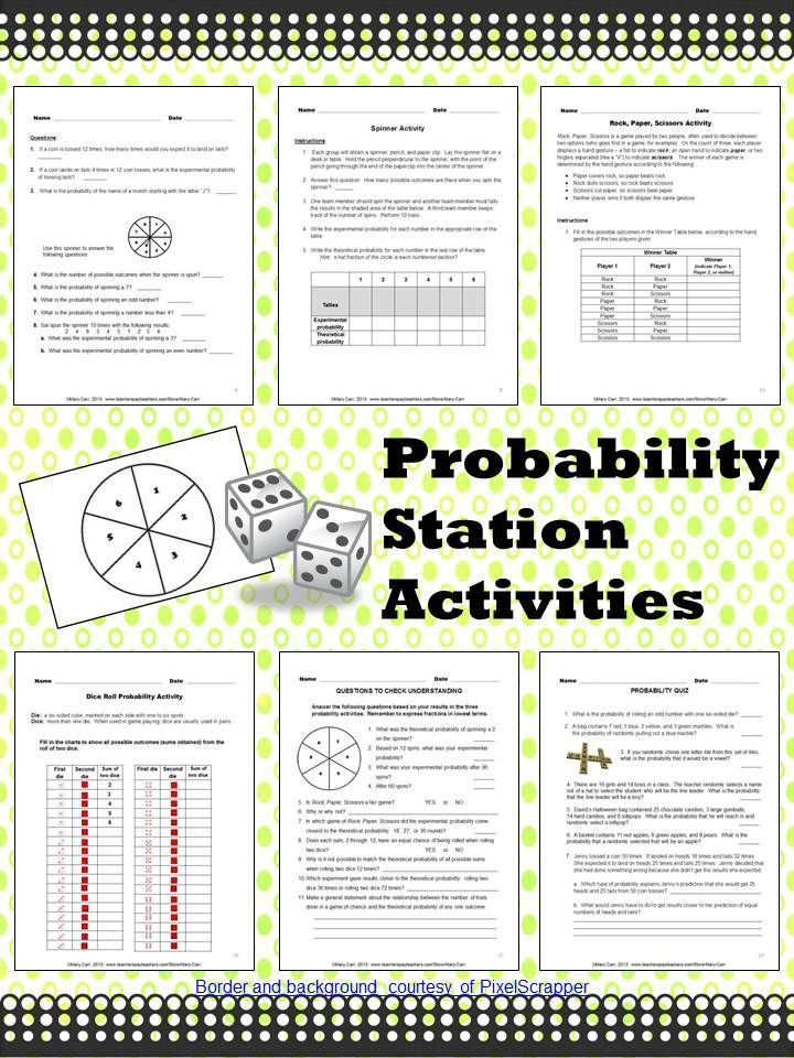 probability station activities worksheets pinterest math classroom math lessons and grade. Black Bedroom Furniture Sets. Home Design Ideas