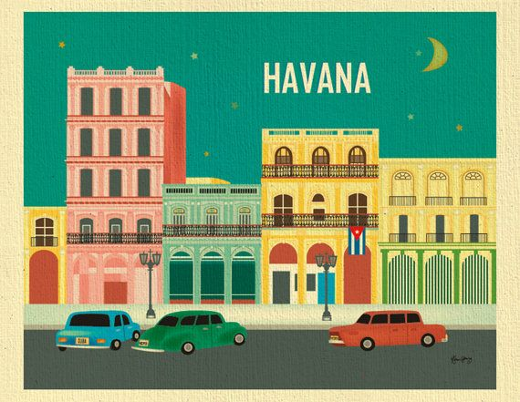 ARTIST DESCRIPTION:  This is a horizontal print of Havana, Cuba. The open air museum of roaming vintage cards were my inspiration for my Havana