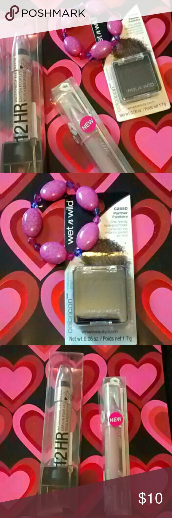 HARD <3 CANDY & wet n' wild  (price firm) 4pc bundle 1 handmade pink/purple bracelet that's on the smaller side, would fit a very small wrist or child's wrist. 1 wet n' wild single eyeshadow  -C2552  -panther  -chic,trendy, fade-proof color 1 HARD <3 CANDY 12 hr waterproof eye crayon   -780   -BLONDIE   -comes with sharpener 1 HARD <3 CANDY all glossed up hydrating lip stain   -791   -FAIR LADY  All makeup is new and sealed Hard candy makeup does not test on our animal friends.  Bracelet…