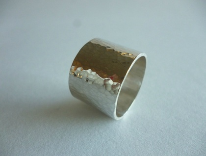 Chunky sterling silver hand-beaten ring