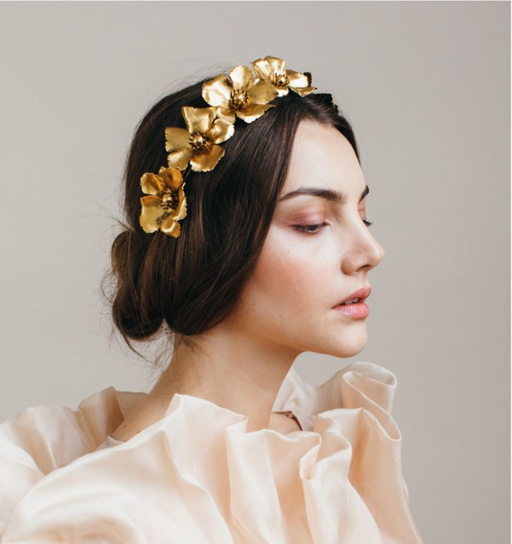 Gold bridal wreath from The Chloe Circlet.